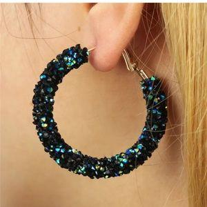 Iridescent Black Hoop Earrings
